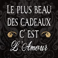 Inspirational Collage I French on Black Fine Art Print