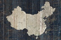 Old World Map Blue China Fine Art Print