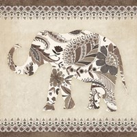 Boho Elephant II Neutral Framed Print