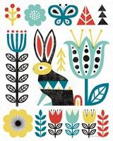 Folk Lodge Rabbit V2 Teal Fine Art Print