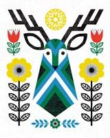 Folk Lodge Deer II Fine Art Print