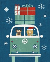 Holiday on Wheels XII Navy Fine Art Print