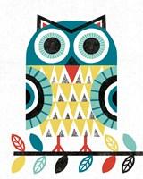 Folk Lodge Owl V2 Teal Fine Art Print