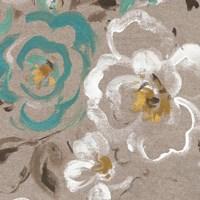 Brushed Petals III Teal Fine Art Print