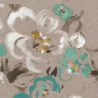 Brushed Petals II Teal Fine Art Print