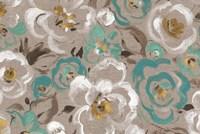 Brushed Petals I Teal Fine Art Print