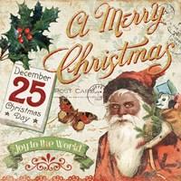Vintage Christmas II Santa Fine Art Print
