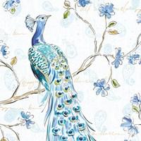 Peacock Allegory III White Fine Art Print