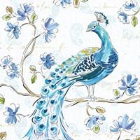 Peacock Allegory IV White Fine Art Print