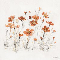 Wildflowers III Orange Fine Art Print