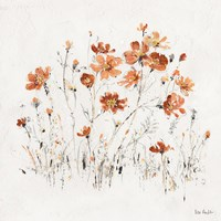 Wildflowers II Orange Fine Art Print