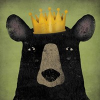 The Black Bear with Crown Fine Art Print