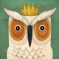 White Owl with Crown Framed Print
