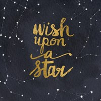 Starry Words Gold - Wish Upon A Star Fine Art Print
