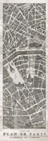 Plan de Paris Panel in Wood Fine Art Print