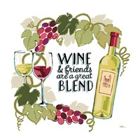 Wine and Friends V on White Fine Art Print