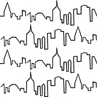 NY Chic Skyline black on white Fine Art Print
