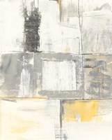 Gray and Yellow Blocks II White Fine Art Print