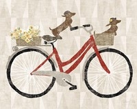 Doxie Ride ver I Red Bike Fine Art Print
