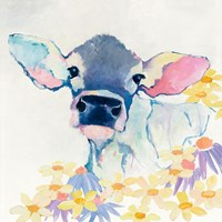 Bessie with Flowers Fine Art Print