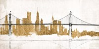 Bridge and Skyline Gold Fine Art Print