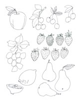 Line Art Fruits Fine Art Print