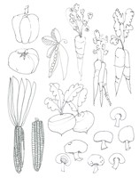 Line Art Veggies Fine Art Print