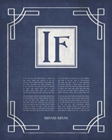 If by Rudyard Kipling - Ornamental Border Blue Fine Art Print