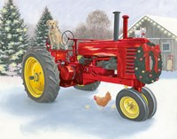 Christmas in the Heartland III Red Tractor Fine Art Print
