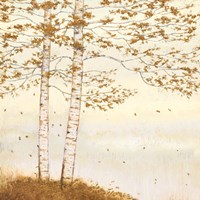 Golden Birch I Off White Fine Art Print