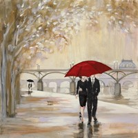 Romantic Paris III Red Umbrella Fine Art Print