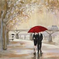 Romantic Paris III Red Umbrella Framed Print