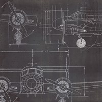 Plane Blueprint III No Words Post Fine Art Print