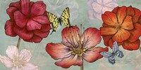 Flowers and Butterflies (Aqua) Fine Art Print