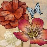 Flowers and Butterflies (detail) Fine Art Print