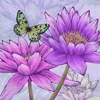 Nympheas and Butterflies (detail) Fine Art Print