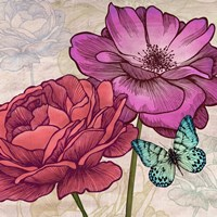 Roses and Butterflies (detail) Fine Art Print