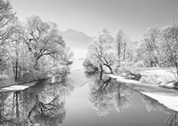 Winter landscape at Loisach, Germany (BW) Fine Art Print