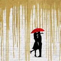 Romance in the Rain (Gold, detail) Fine Art Print