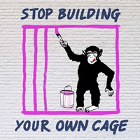 Chimp in Cage Fine Art Print