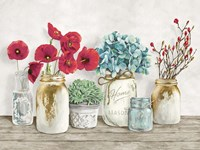 Floral Composition with Mason Jars Fine Art Print