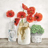 Floral Composition with Mason Jars II Fine Art Print