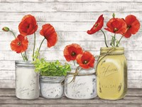 Poppies in Mason Jars (detail) Fine Art Print