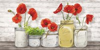 Poppies in Mason Jars Framed Print