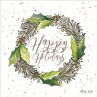 Happy Holidays Wreath Fine Art Print