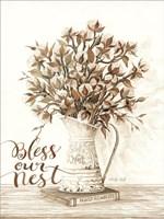 Bless Our Nest Cotton Bouquet Fine Art Print
