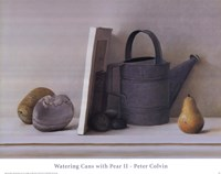 "Watering Cans with Pear II by Peter Colvin - 28"" x 22"""
