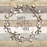 Family Gathers Here Cotton Wreath Framed Print