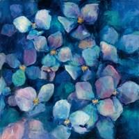 Midnight Blue Hydrangeas with Gold Fine Art Print