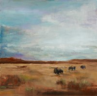 Buffalo Under Big Sky Red and Brown Fine Art Print